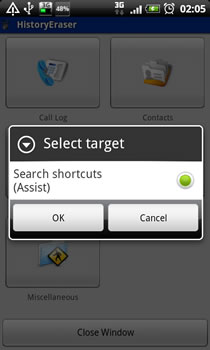History Eraser - search shortcuts menu picture
