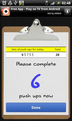 Push Ups - screenshot from application