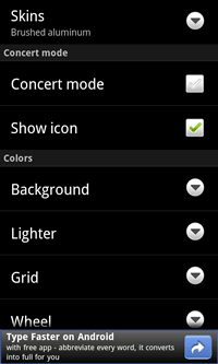 Lighter - settings menu picture
