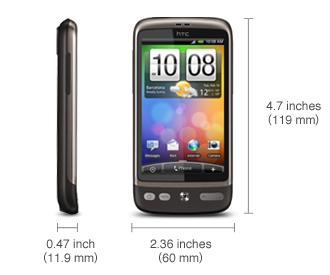 HTC Desire size picture