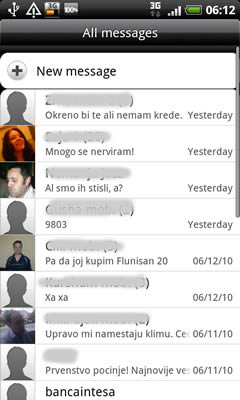 HTC Desire Screen SMS example