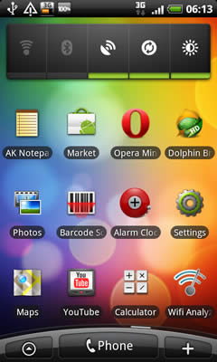 HTC Desire apps screen example