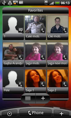 HTC Desire favorite contacts screen