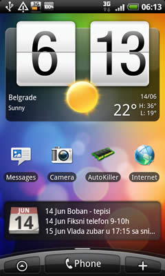 HTC Desire main screen example